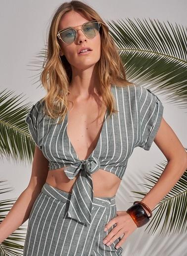 Morhipo Beach Bağlamalı Crop Top Bluz Haki